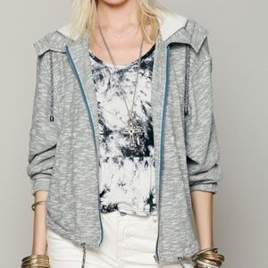 Free People Gray Hooded Slouchy Zip Up Jacket Sz.M